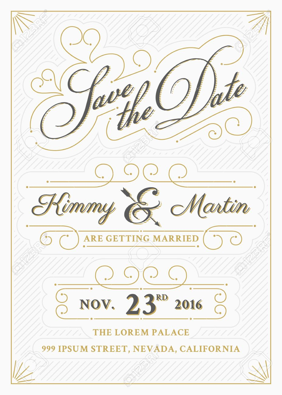 Vintage Save The Date Card Letterpress Style Design. Very Easy ...