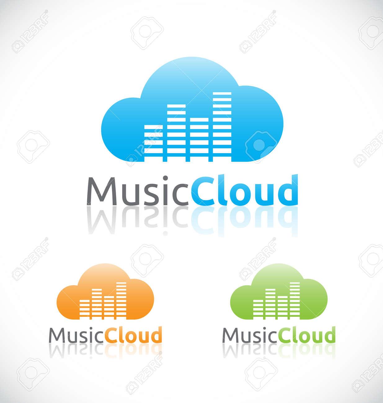 Abstrakt Audio-Musik Cloud Online-Service Und Technologie-Logo ...