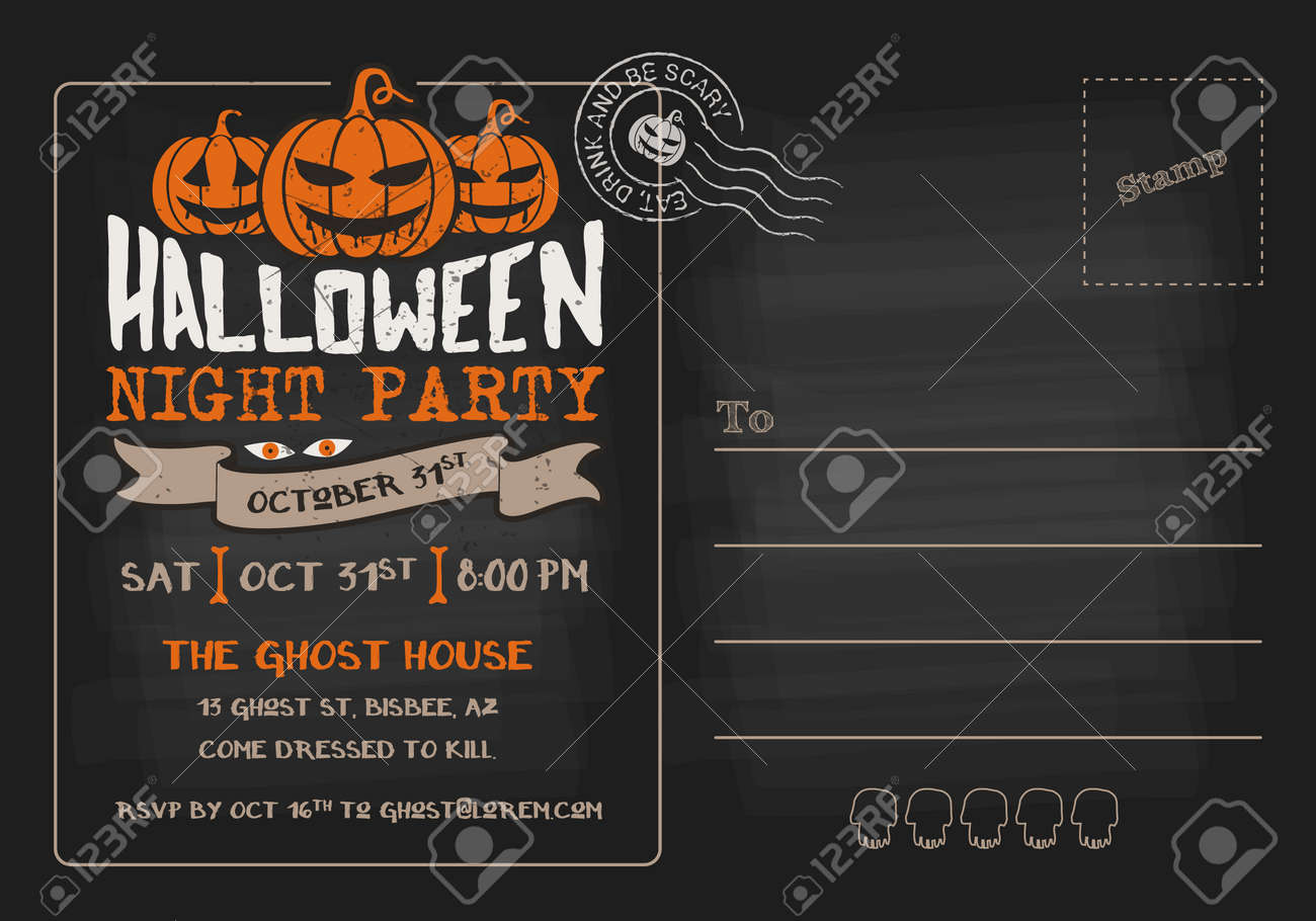 Halloween Party And Costume Contest Postcard Invitation Template ...