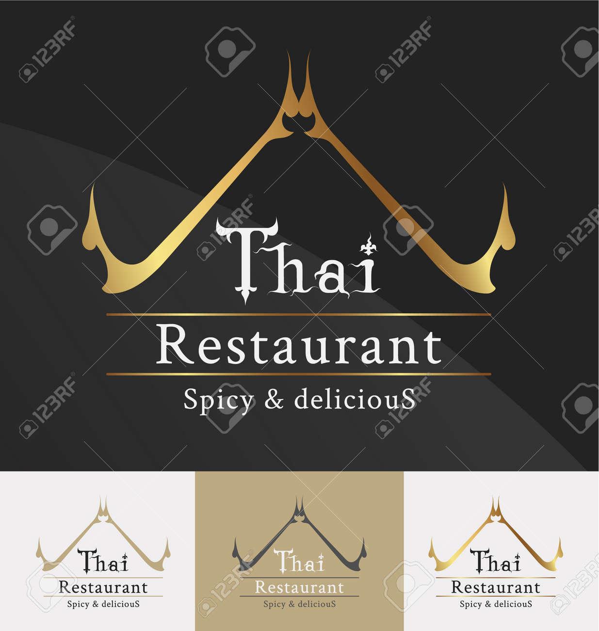 Thai restaurant logo template design. Thai art decoration element. Vector illustration - 46956844