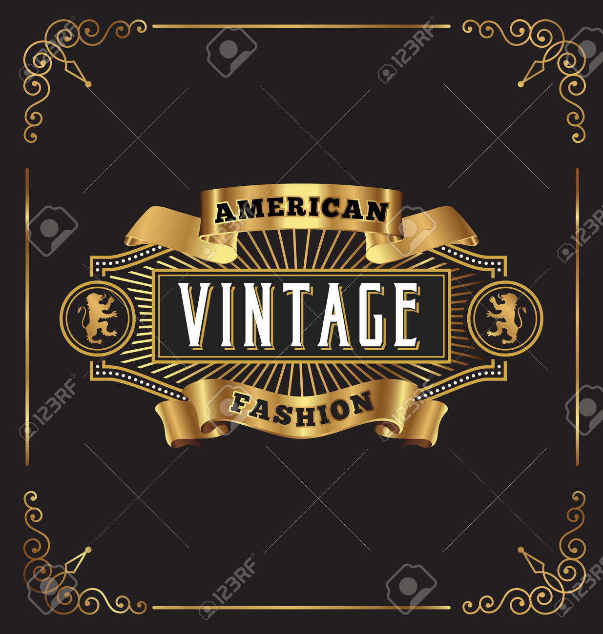 Vintage frame label design. Suitable for Whiskey, Jewelry, Hotel, Coffee shop, Restaurant, Barber, Premium business. - 46958214