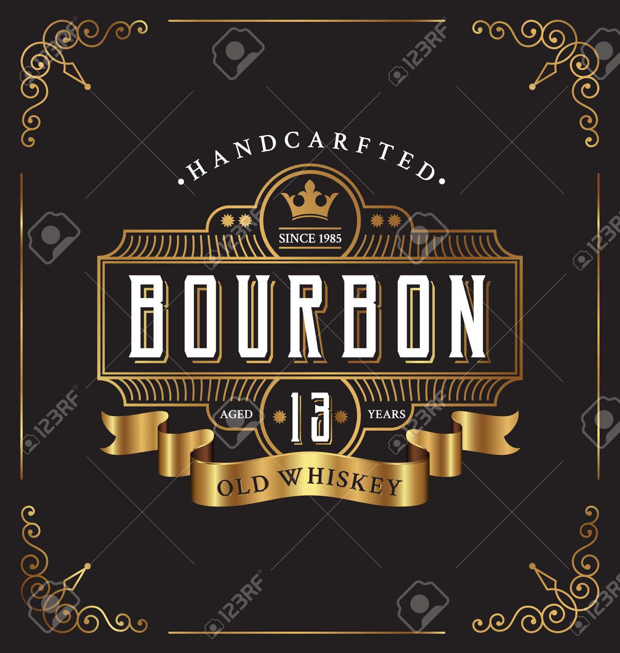 Vintage frame label design. Suitable for Whiskey and Wine label, Restaurant, Beer label. - 46969383