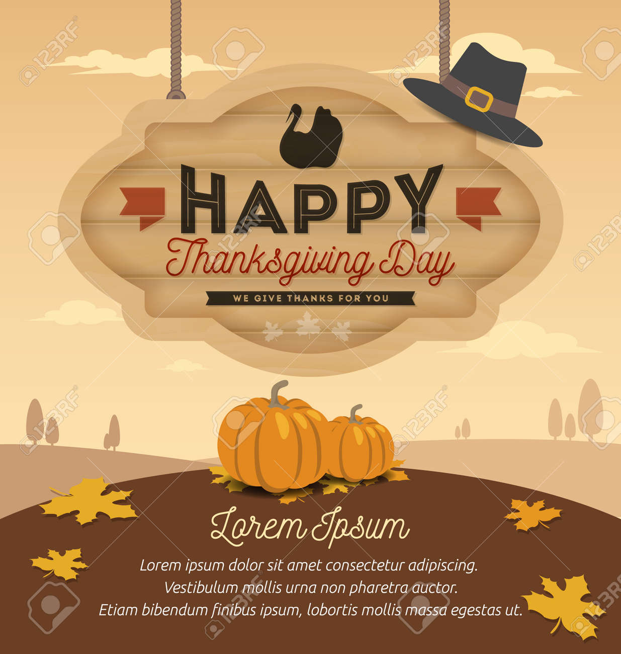 Happy Thanksgiving Card Design, Happy Thanksgiving Day On Wooden Board Hanging. Vector illustration - 48006389