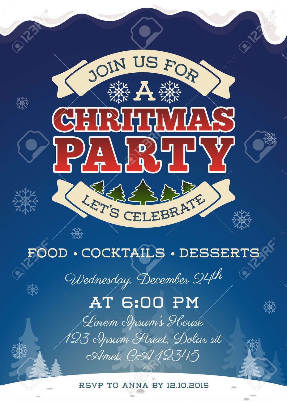 christmas party invitation template design cute christmas christmas party invitation template design cute christmas invitation vector illustration stock vector 48219825