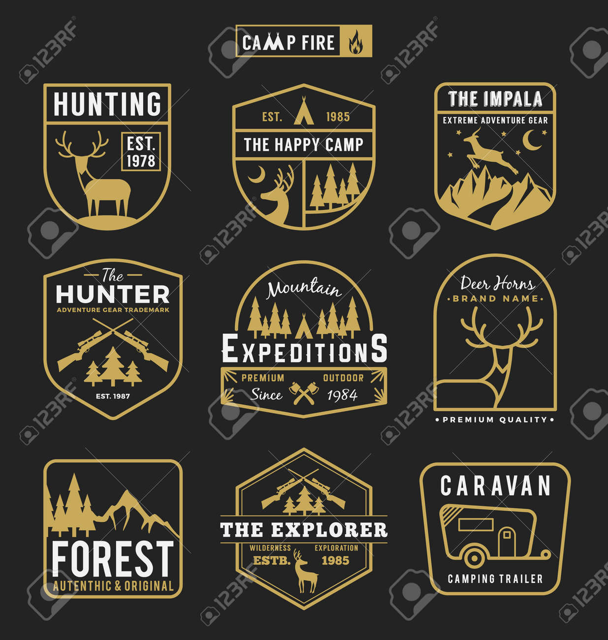 set of camping outdoor and adventure gears badge logo emblem