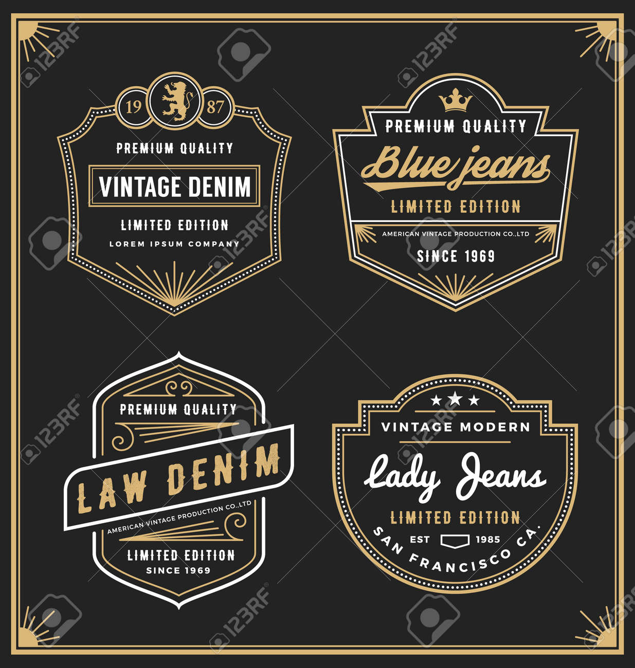Vintage denim jeans frame for your business. Use for label, tags, banner, screen and printing media. Vector illustration - 50070781