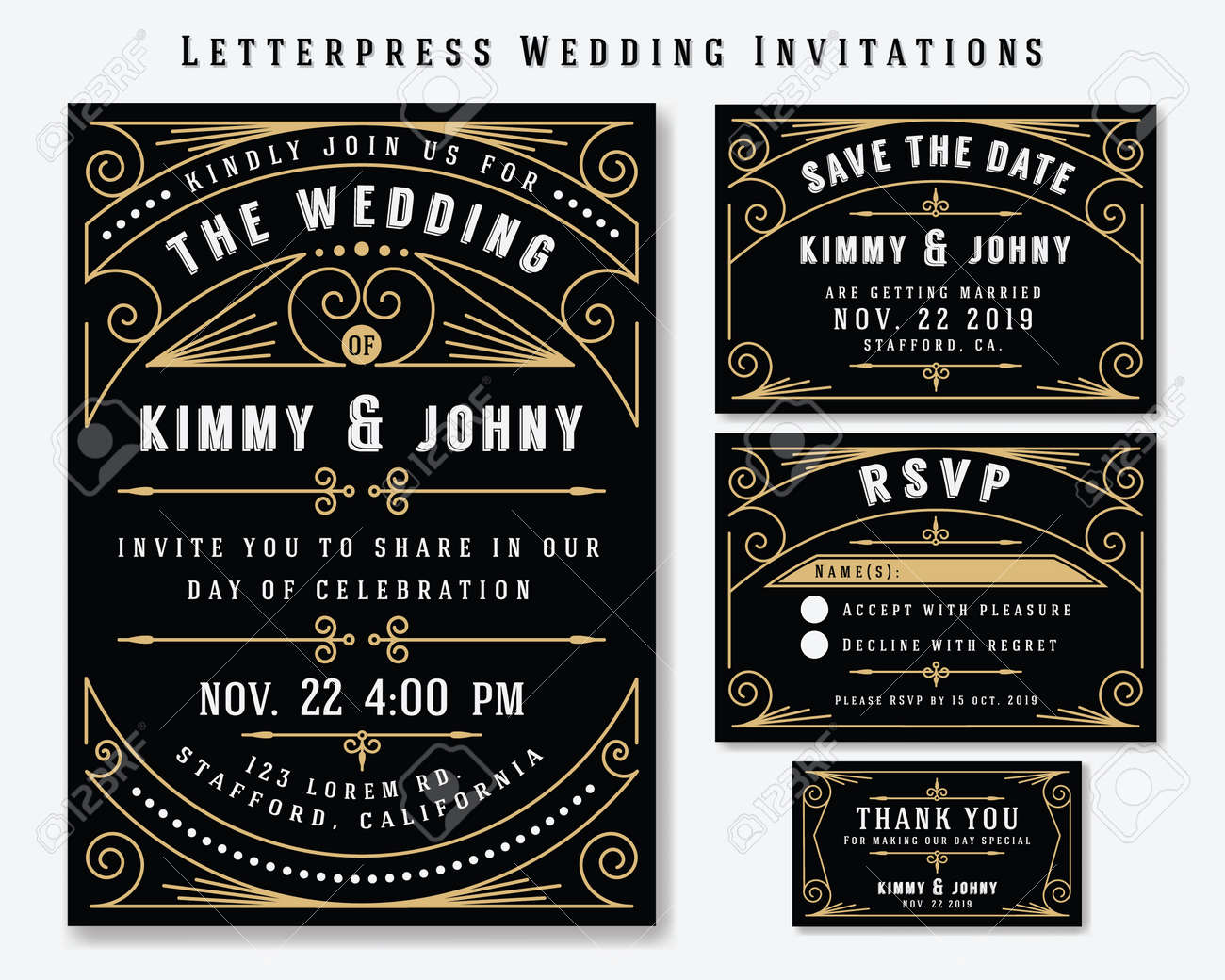 Letterpress Wedding Invitation Design Template Include Rsvp