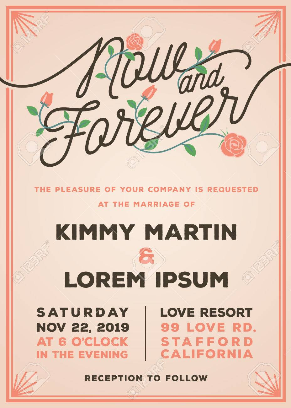 Now And Forever Wedding Invitation Template Old Rose Theme Wedding