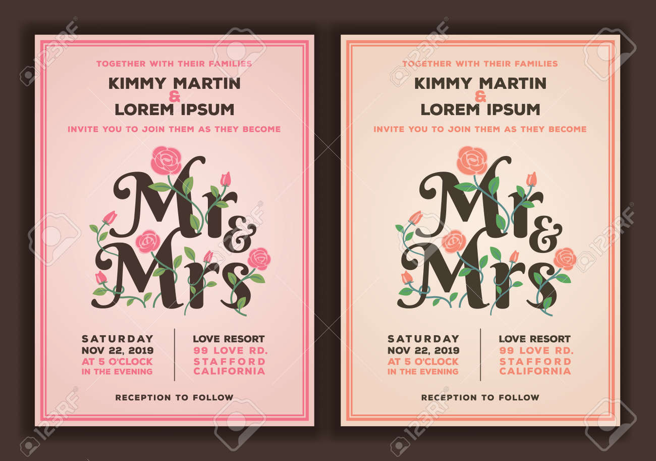 Mr And Mrs Title With Flower Wedding Invitations Template. Peach ...