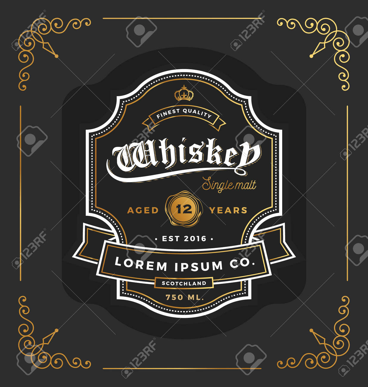 Vintage frame label design. Suitable for Whiskey and Wine label, Restaurant, Beer label. Vector illustration - 50635531