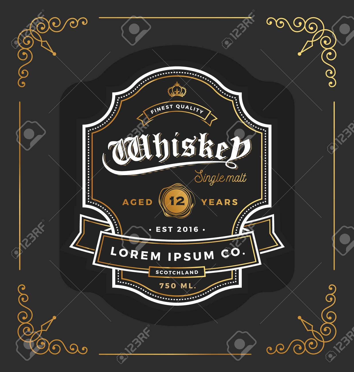 Vintage-Rahmen-Label-Design. Geeignet Für Whiskey Und Wein Etikett ...