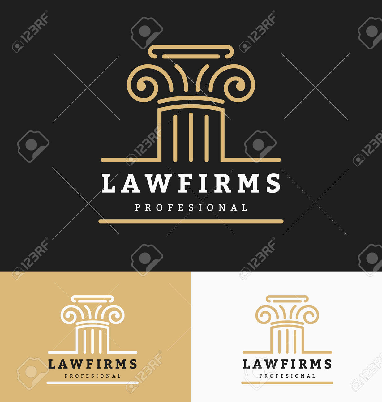 Law firms logo template with space for business slogan and tags line. Vector illustration - 52190162