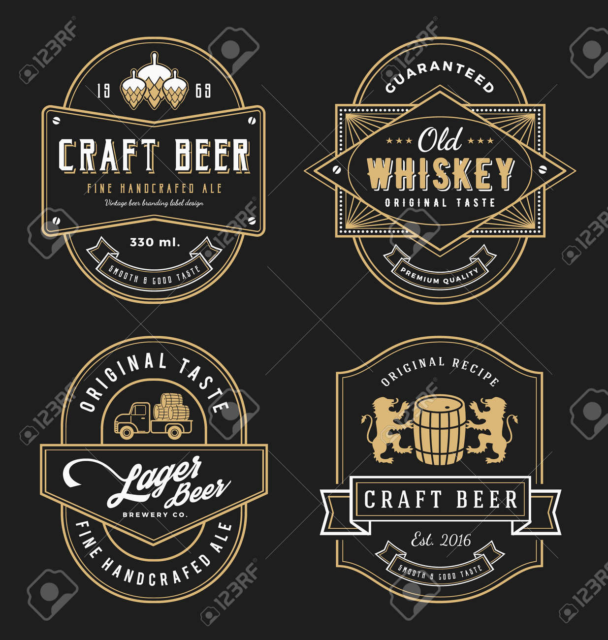 Vintage frame design for labels, banner, sticker and other design. Suitable for whiskey, beer, wine, beverage and premium product. All type use free font. - 52211135