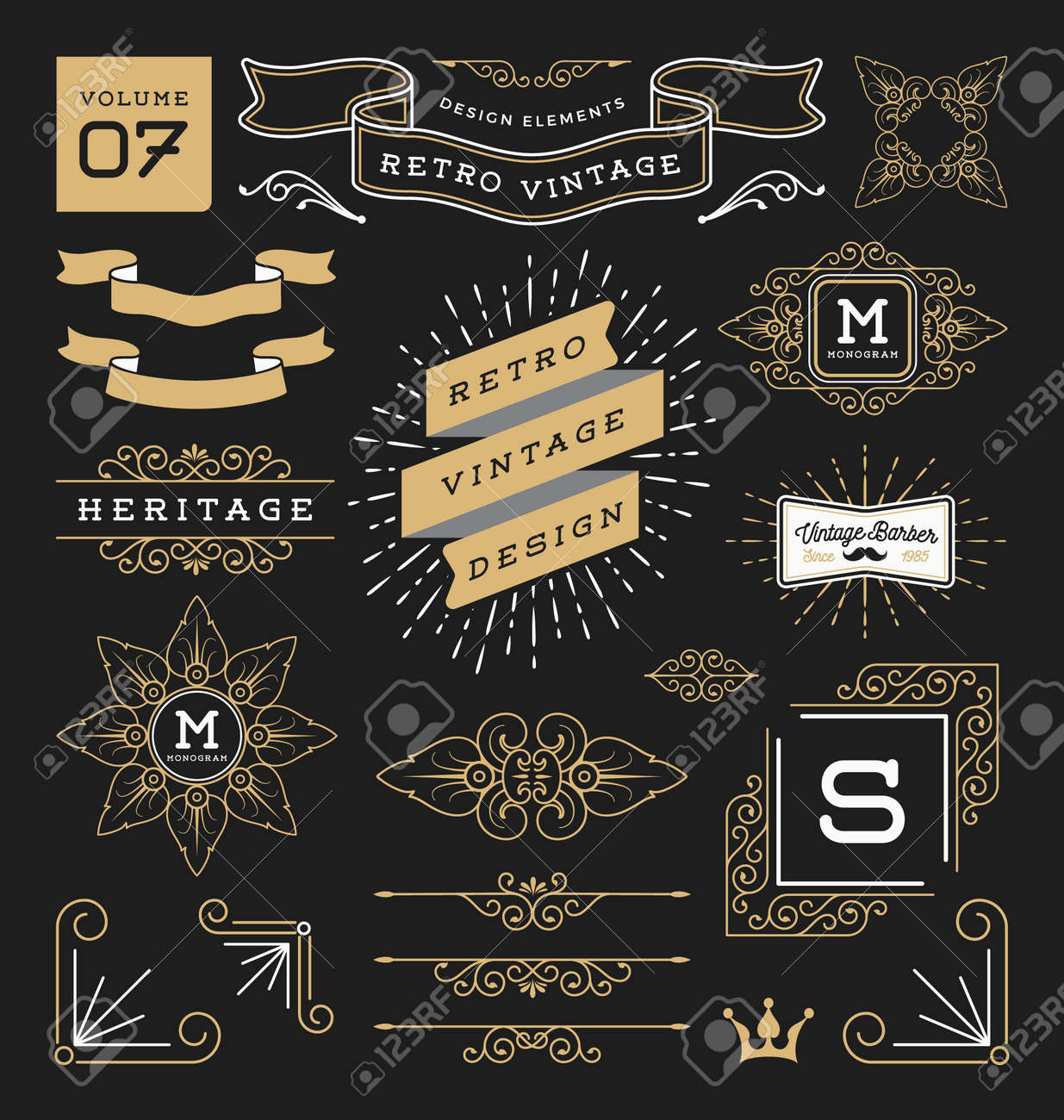 Set of retro vintage graphic design elements. Sign, frame labels, ribbons, symbols, crowns, corner, flourishes line and ornaments. - 52847866
