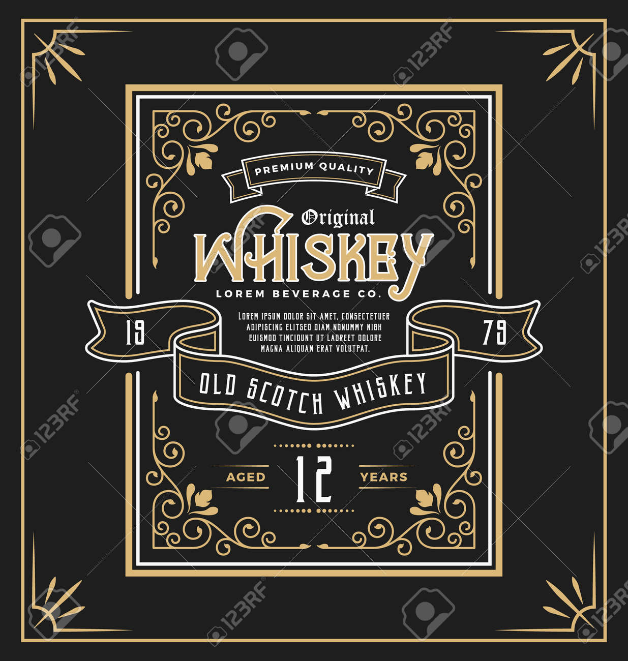 Vintage frame label for whiskey and beverage product. You can apply this for another product such as Beer, Wine, Shop decoration, Luxury and Elegant business too. illustration - 53799573