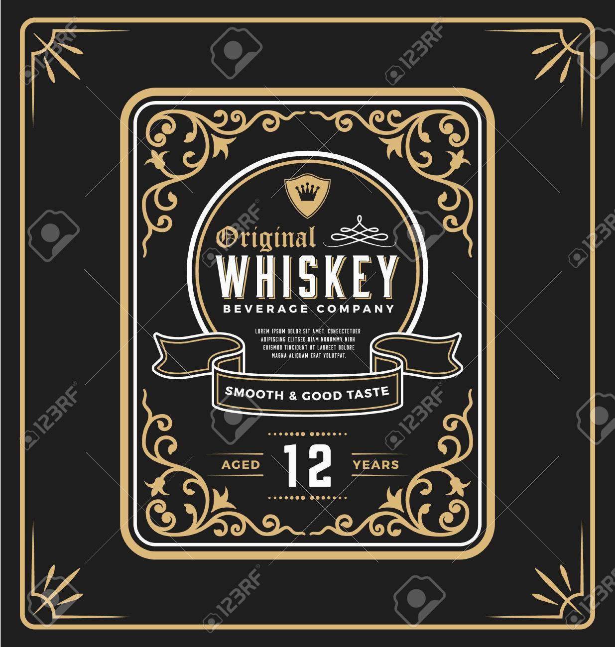 vintage frame label for whiskey and beverage product. you can