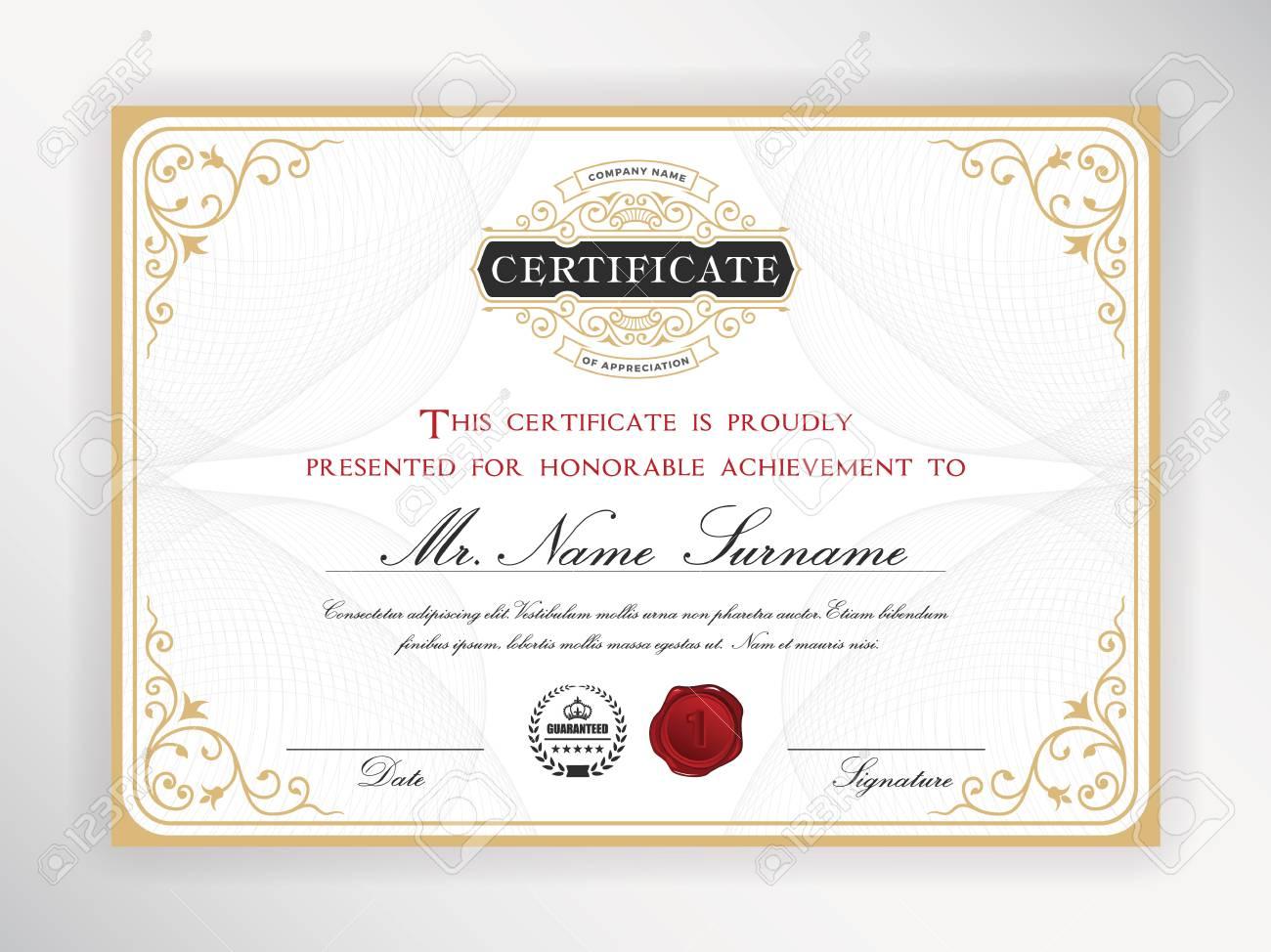Elegant Certificate Template Design With Emblem Vintage Border