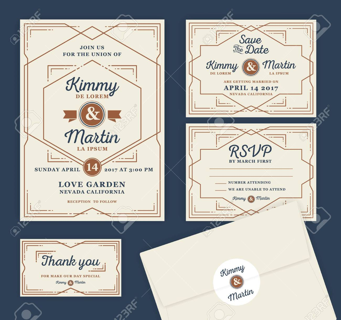 Art Deco Letterpress Wedding Invitation Design Template. Include ...