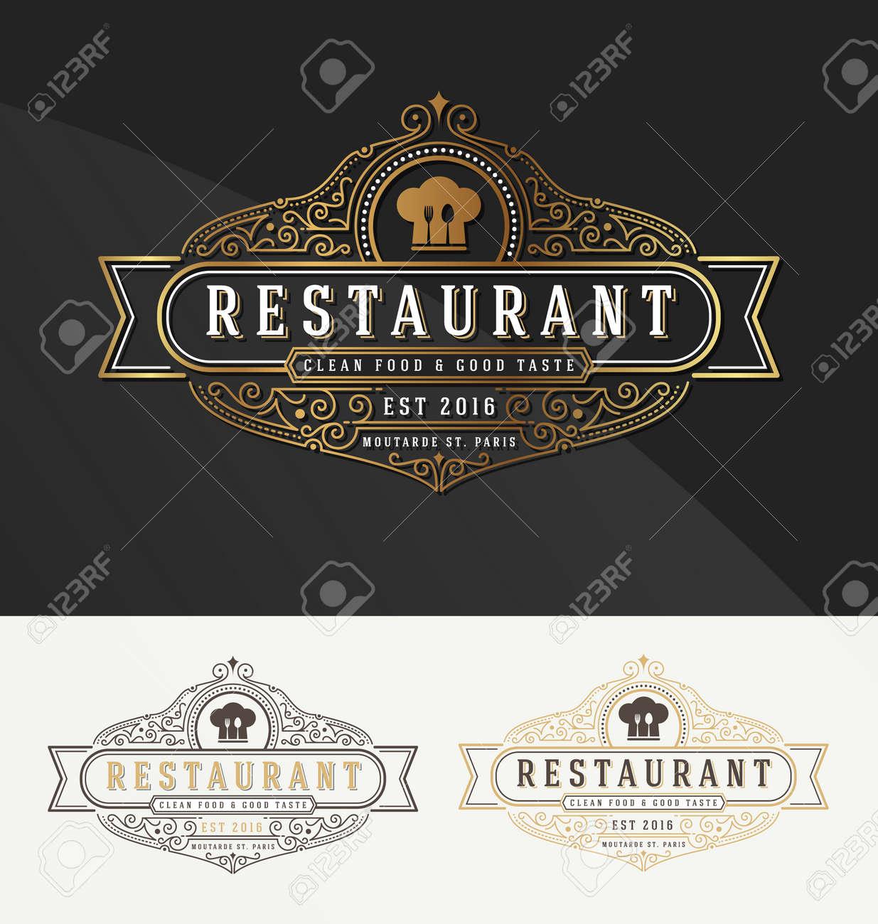 Weinlese Blühen Rahmen Logo-Vorlage Für Restaurant, Hotel ...
