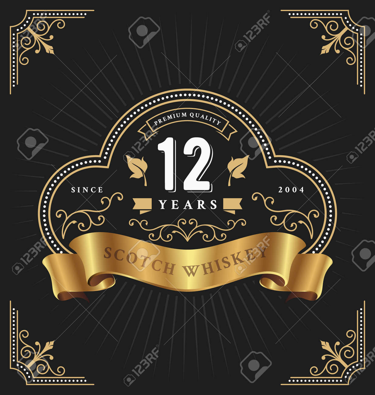 Vintage frame label template suitable for anniversary, whiskey, wine, shop banner and other design. Vector illustration - 57627650