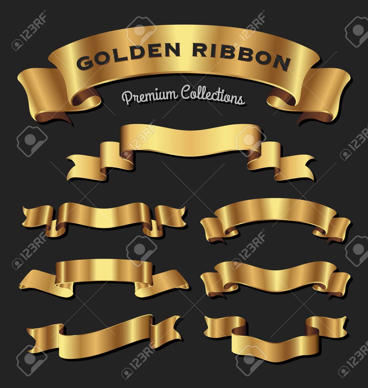 Set of premium golden ribbons for your design. Vector illustration - 56089775