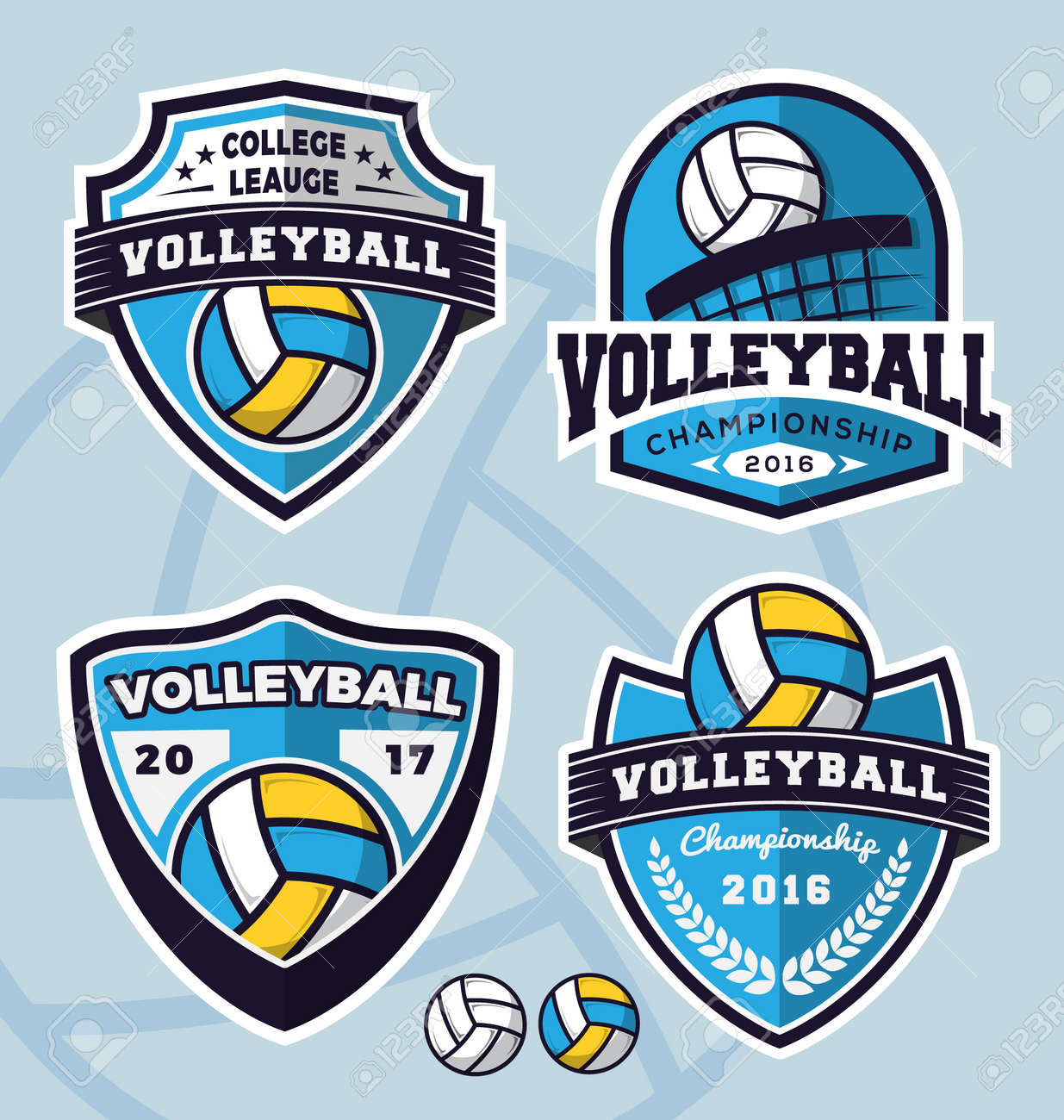 Set of volleyball logo template design for apparel, clothing and other design. Vector illustration - 57627697