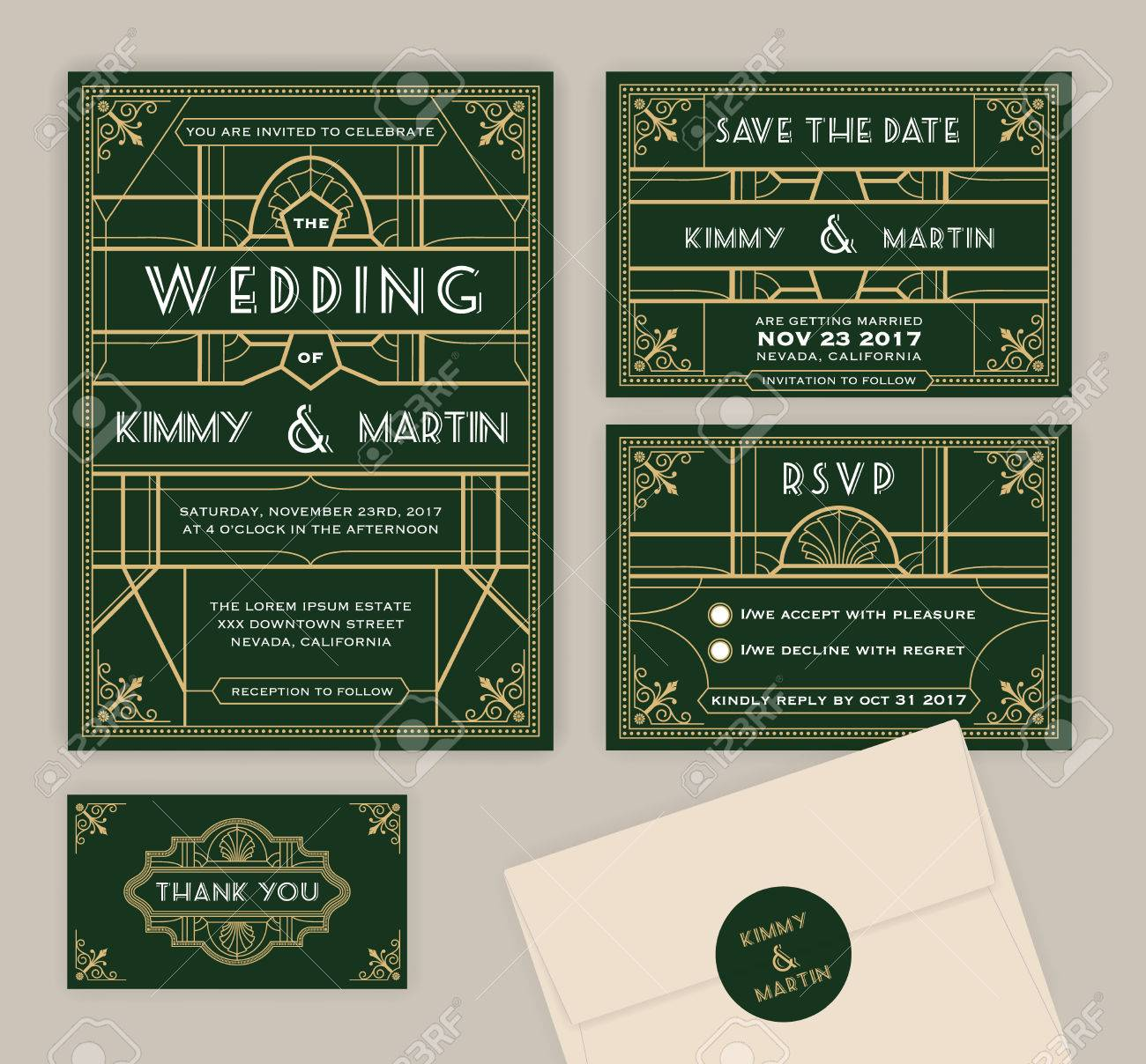 Emerald Green Art Deco Wedding Invitation Template Frame And Card Include: Ivory Deco Wedding Invitations At Websimilar.org