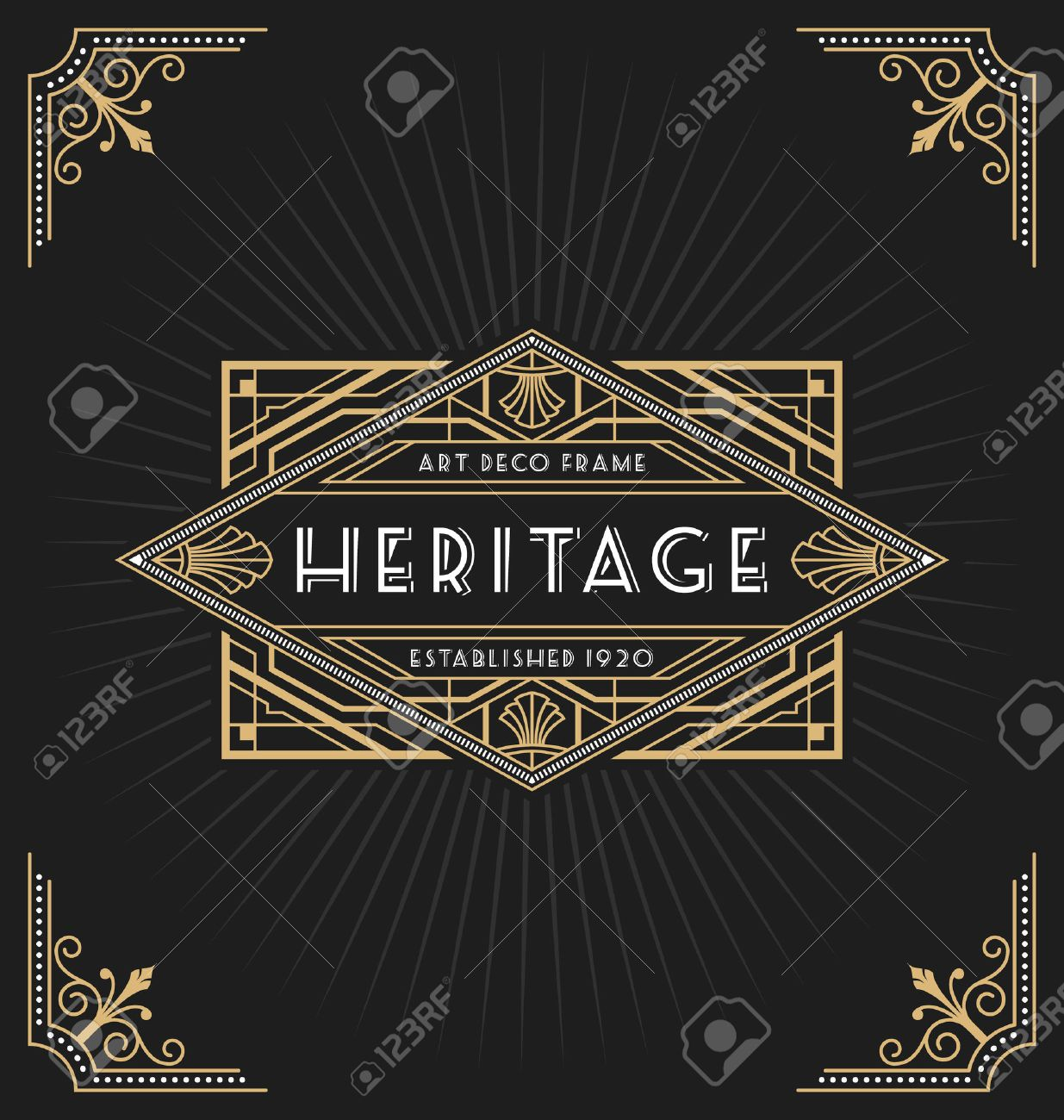 Art Deco Frame And Label Design Suitable For Luxurious Business ...