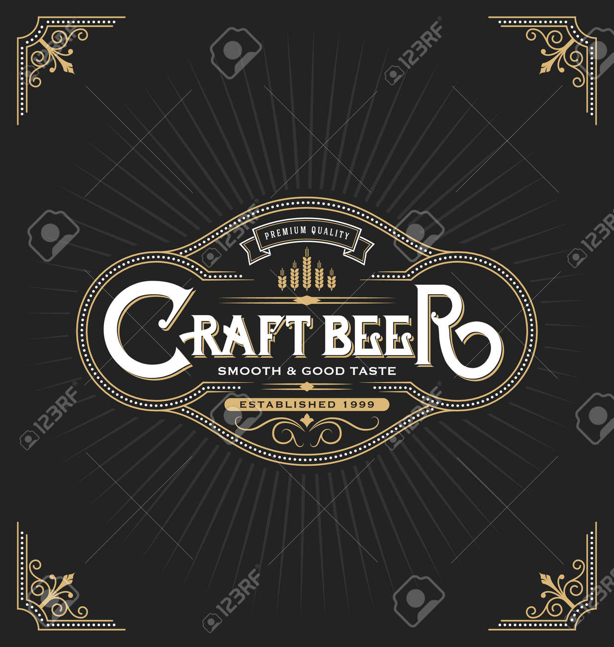 Craft Beer Sticker Label Design. Vintage Frame Template Suitable ...