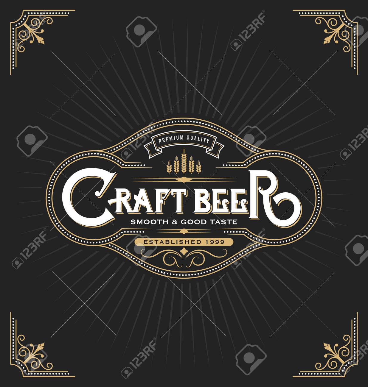 Craft Bier Aufkleber Label-Design. Vintage-Rahmen-Vorlage Geeignet ...