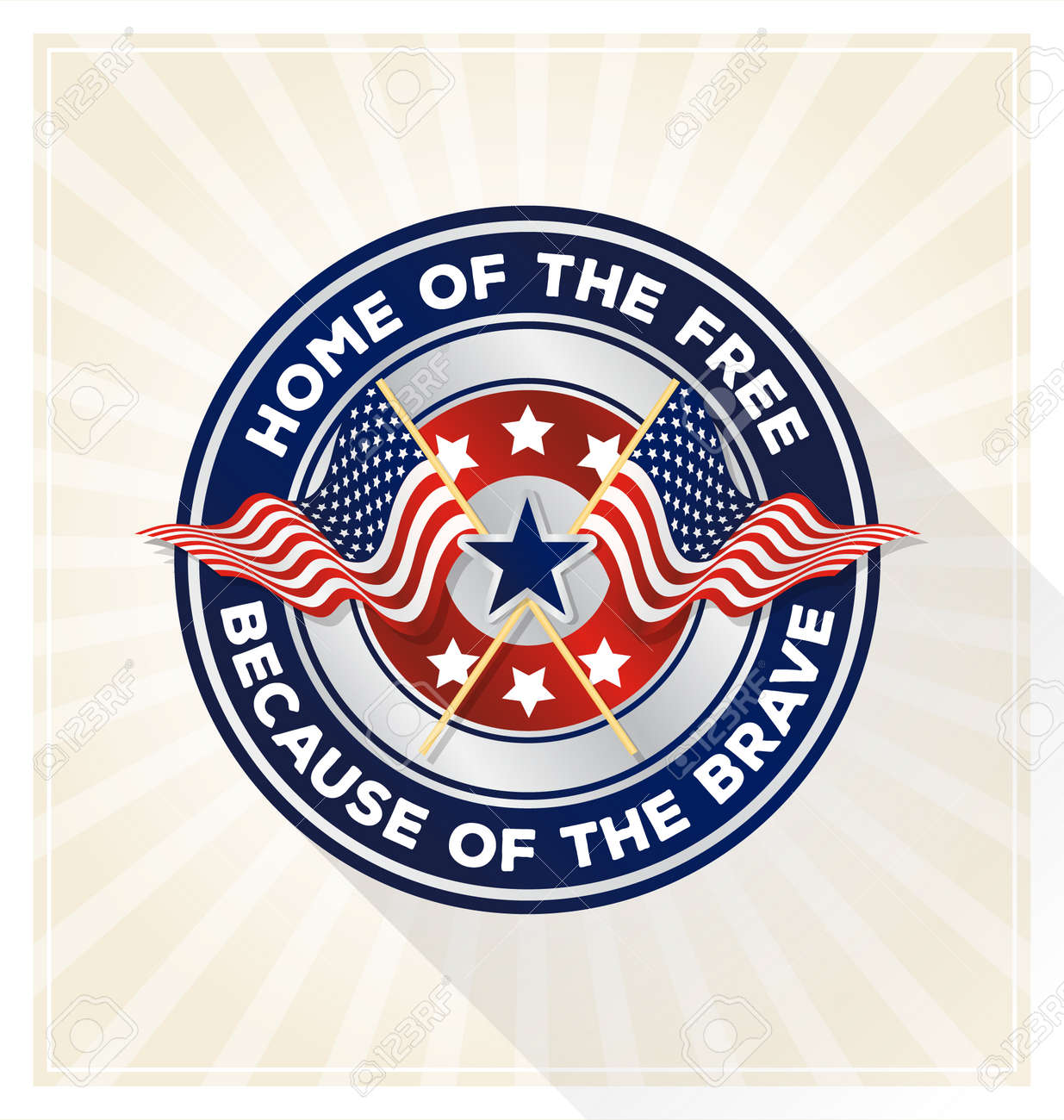 """Memorial day badge concept. USA patriotic shield symbol with text """"Home of the free because of the brave"""". Vector illustration - 58416825"""