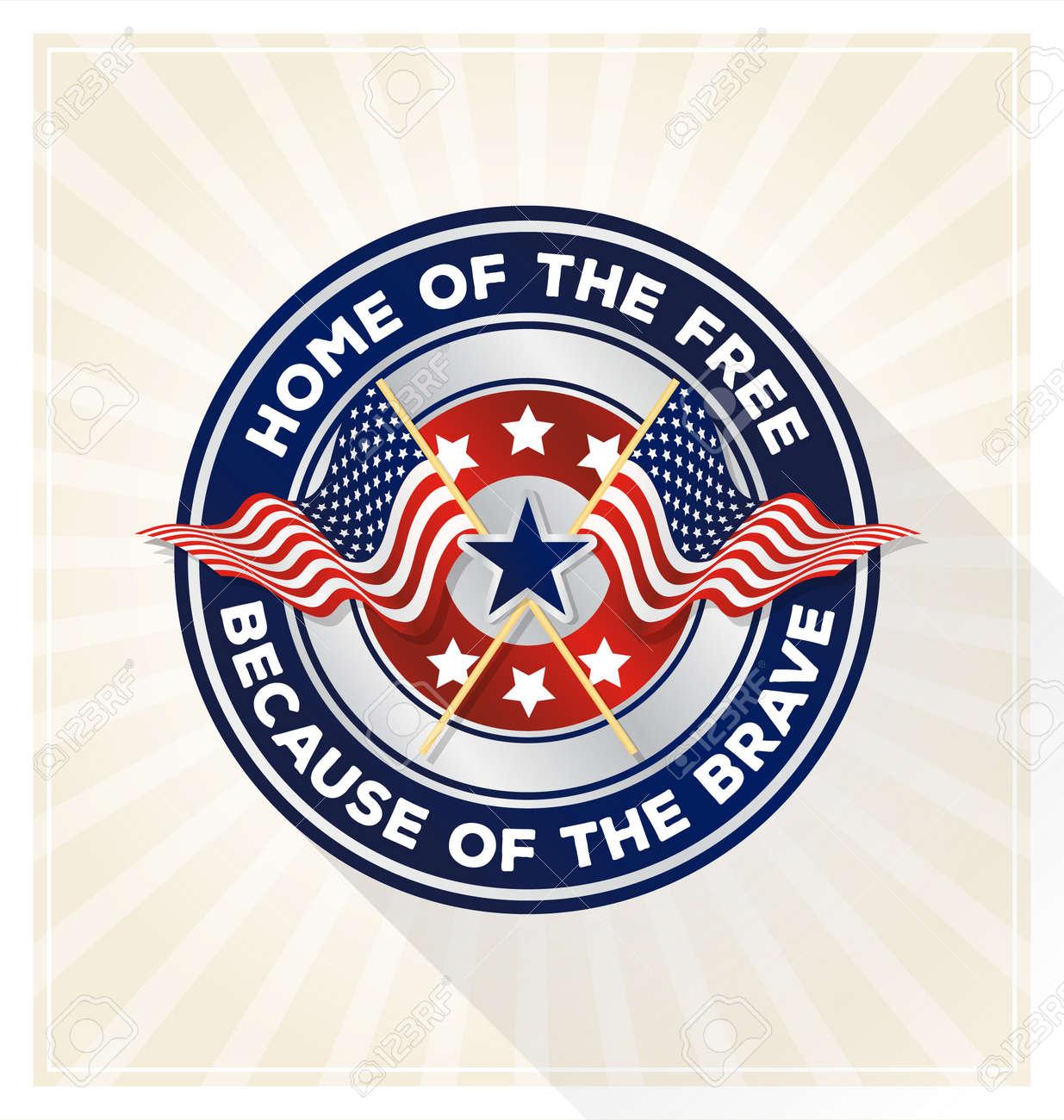 Memorial Day Badge Concept Usa Patriotic Shield Symbol With Text