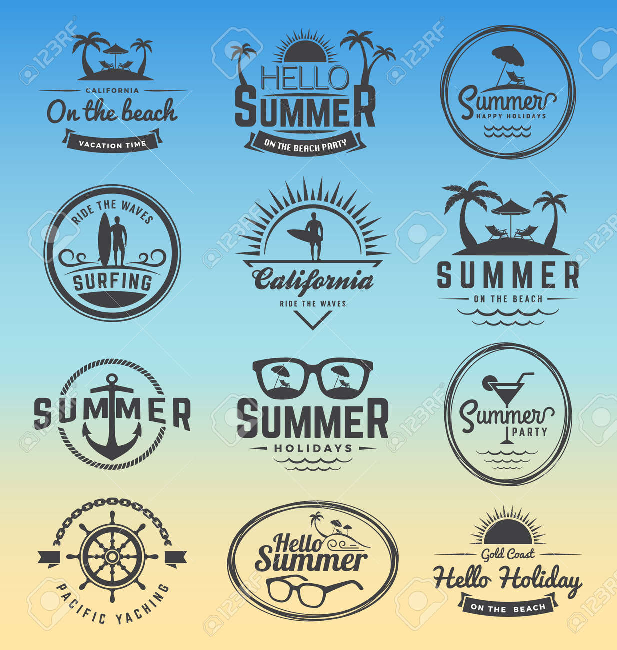 modern retro insignia for summer holidays surfing and nautical vector design enjoy summer