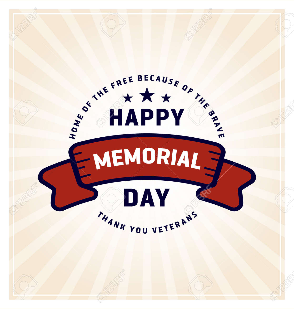 Happy Memorial Day Greeting Cards Vector Illustration Royalty Free