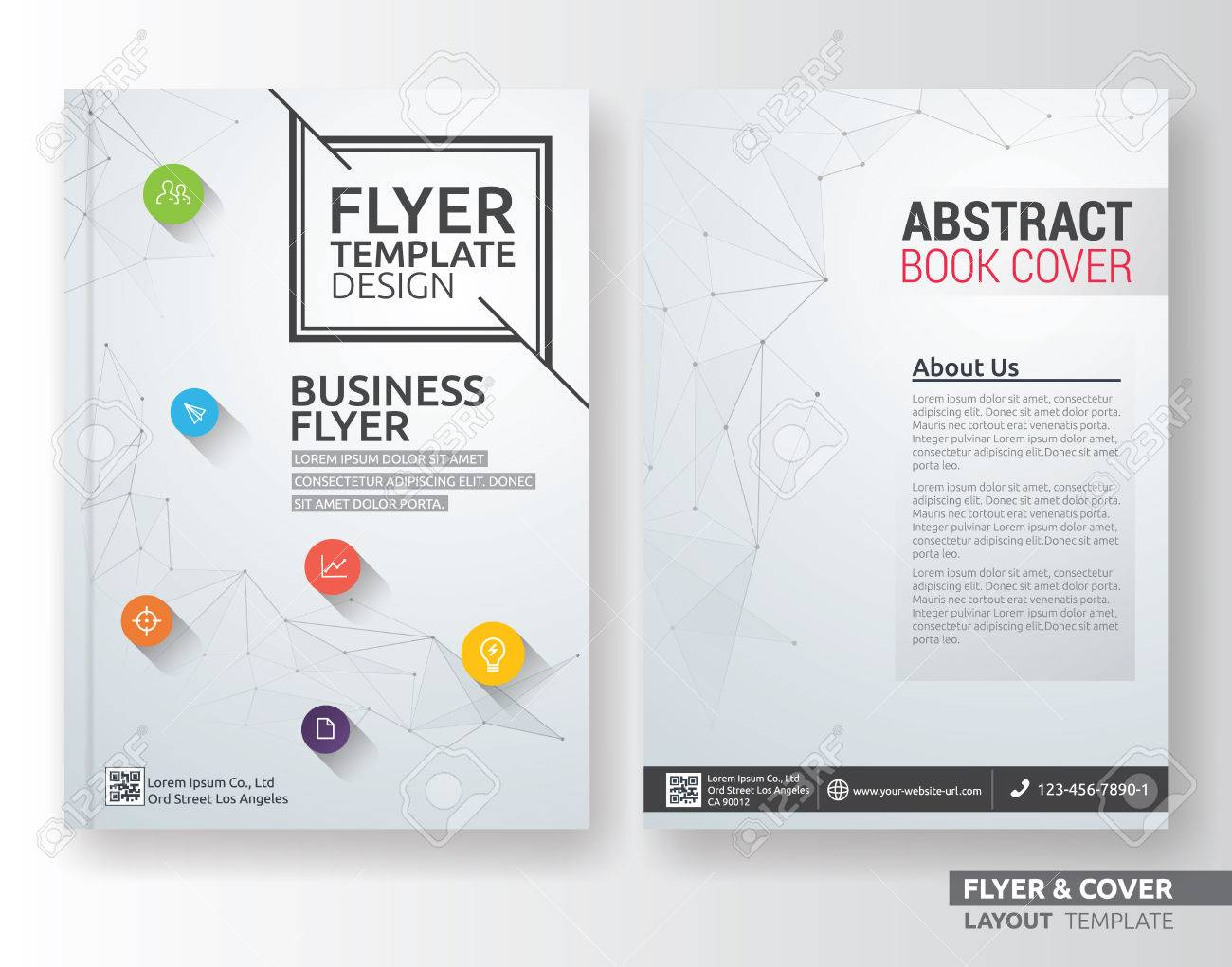 Multipurpose corporate business layout template design. Suitable for leaflet, brochure, book cover and annual report. Layout in A4 size with bleeds. - 61113038
