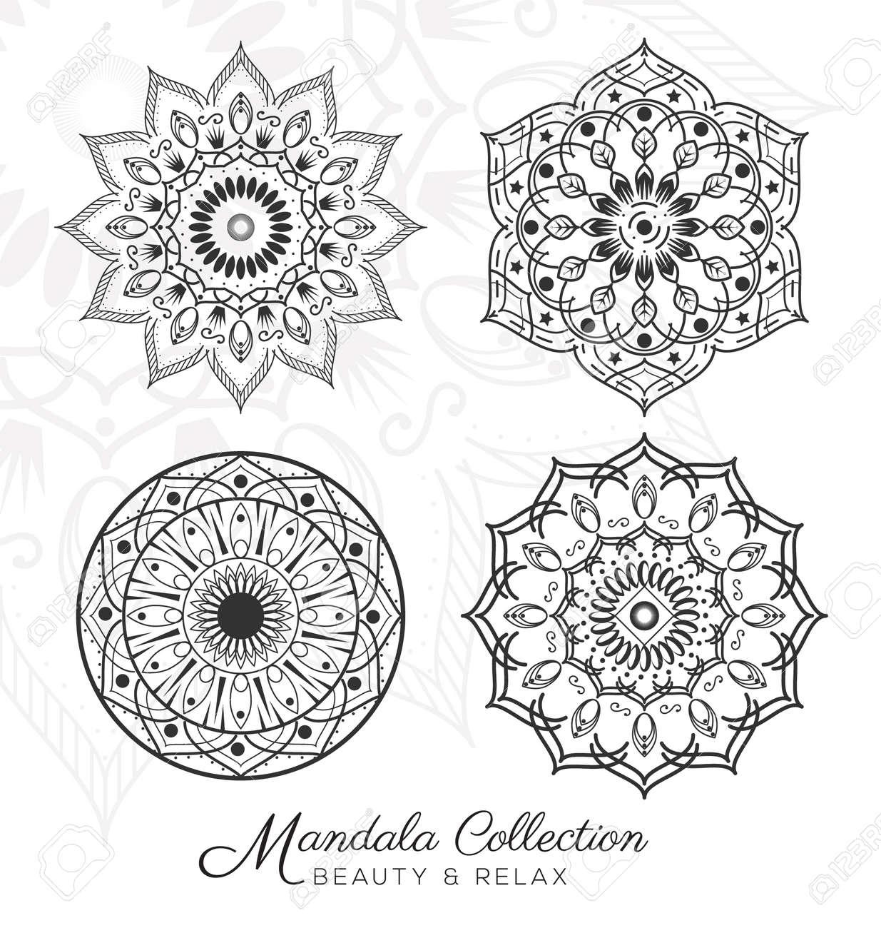 Conjunto De Diseño De La Mandala Ornamentos Decorativos De Página ...