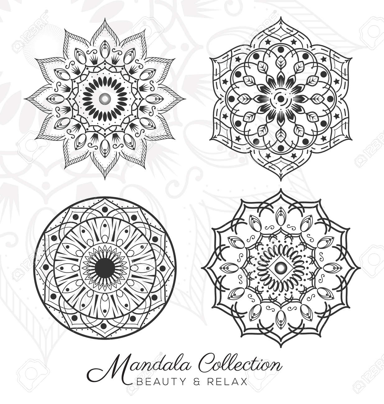 Ensemble De Mandala Design Decoratif Ornement Pour Coloriage Carte De Voeux D Invitation Tatouage Yoga Et Spa Symbole Illustration