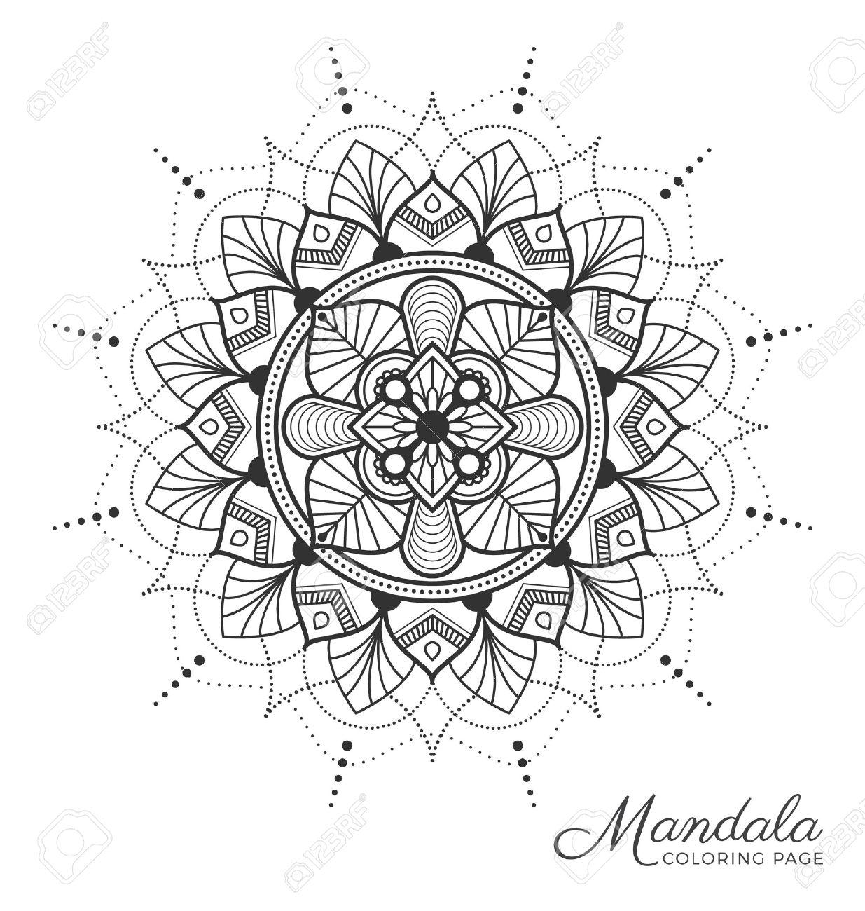 Mandala Diseño Ornamentos Decorativos Para Adultos Página Para