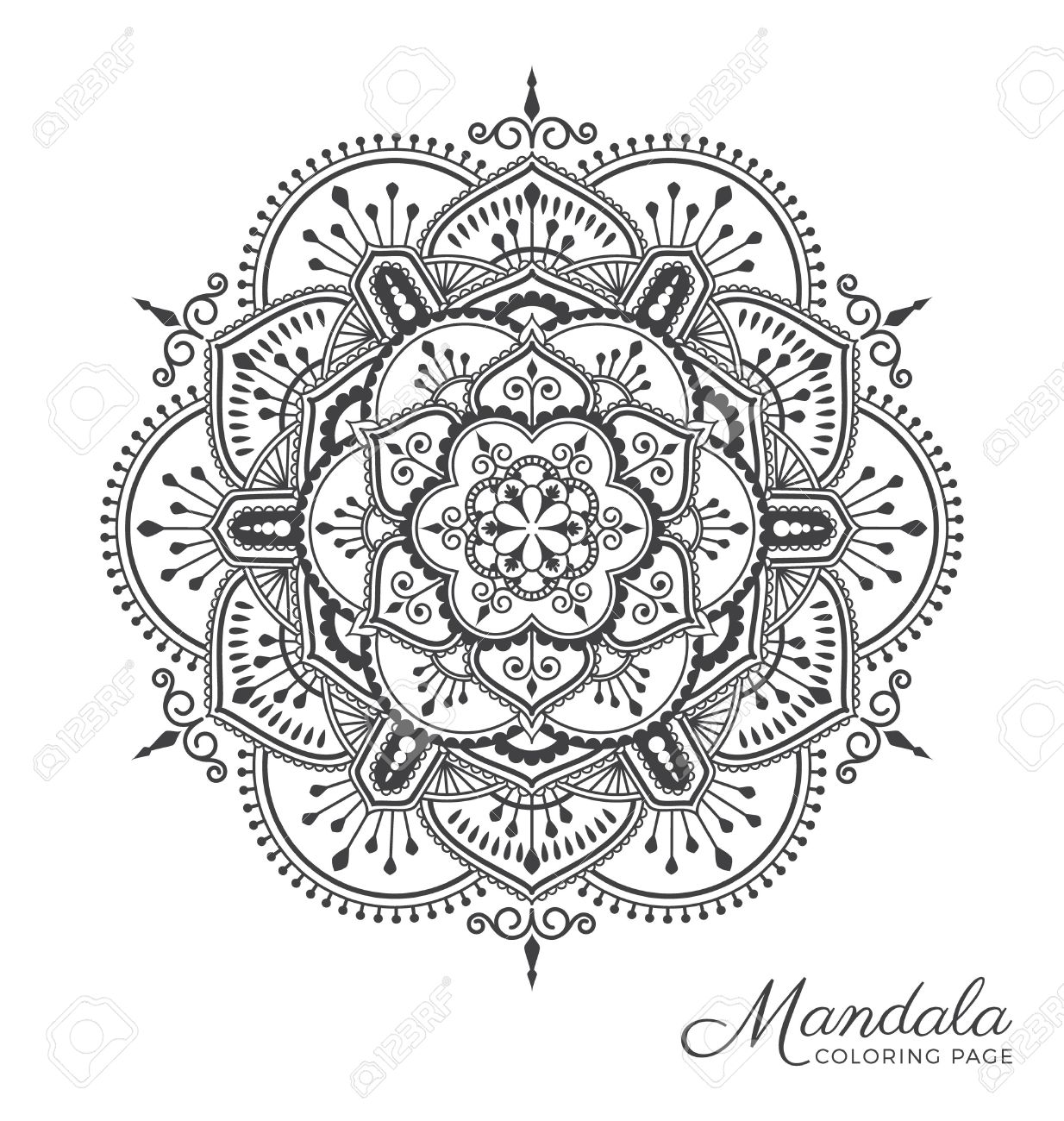 Tibetan Mandala Decorative Ornament Design For Adult Coloring ...