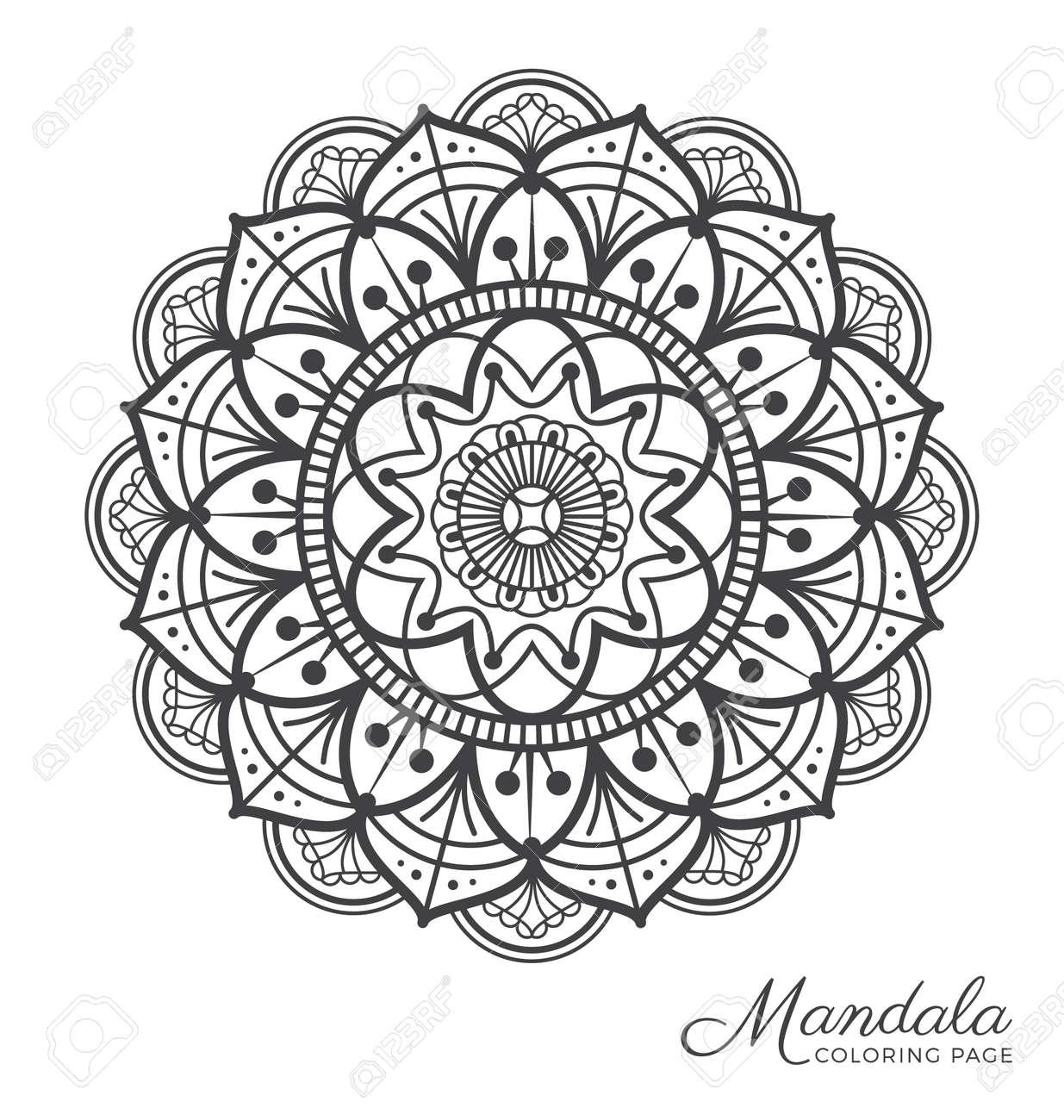 Tibetan Mandala Decorative Ornament Design For Adult Coloring