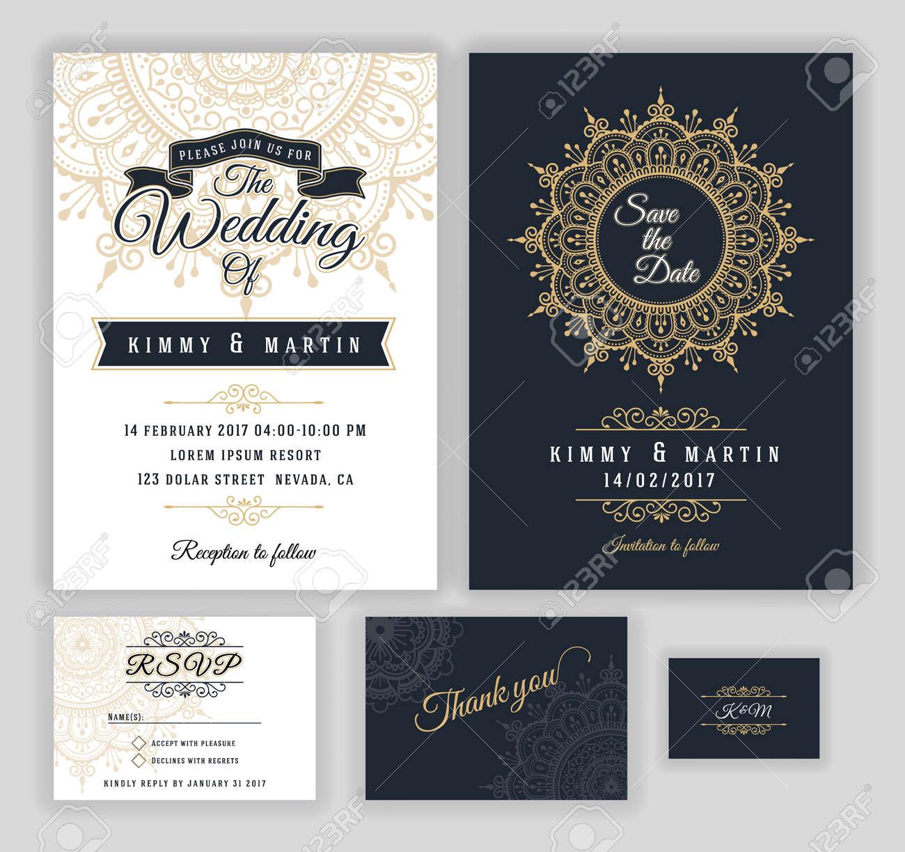 Vintage wedding invitation Mehndi mandala design sets include..