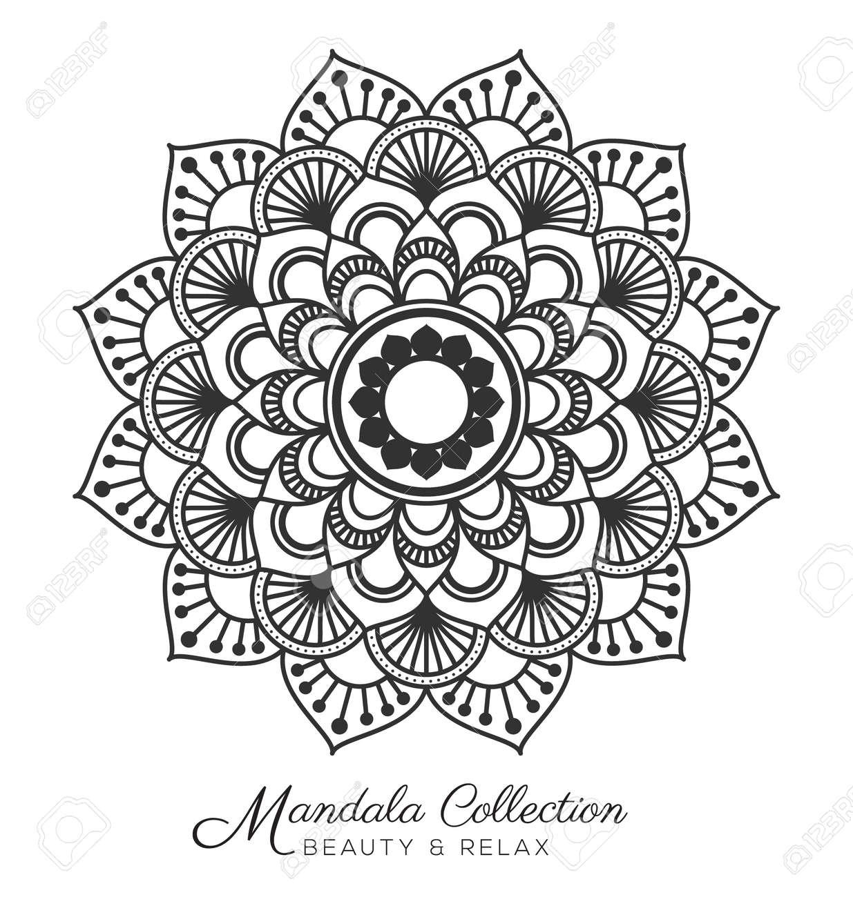 Tibetan Mandala Conception D Ornement Decoratif Pour Coloriage Carte De Voeux D Invitation Tatouage Yoga Et Spa Symbole Vector Illustration