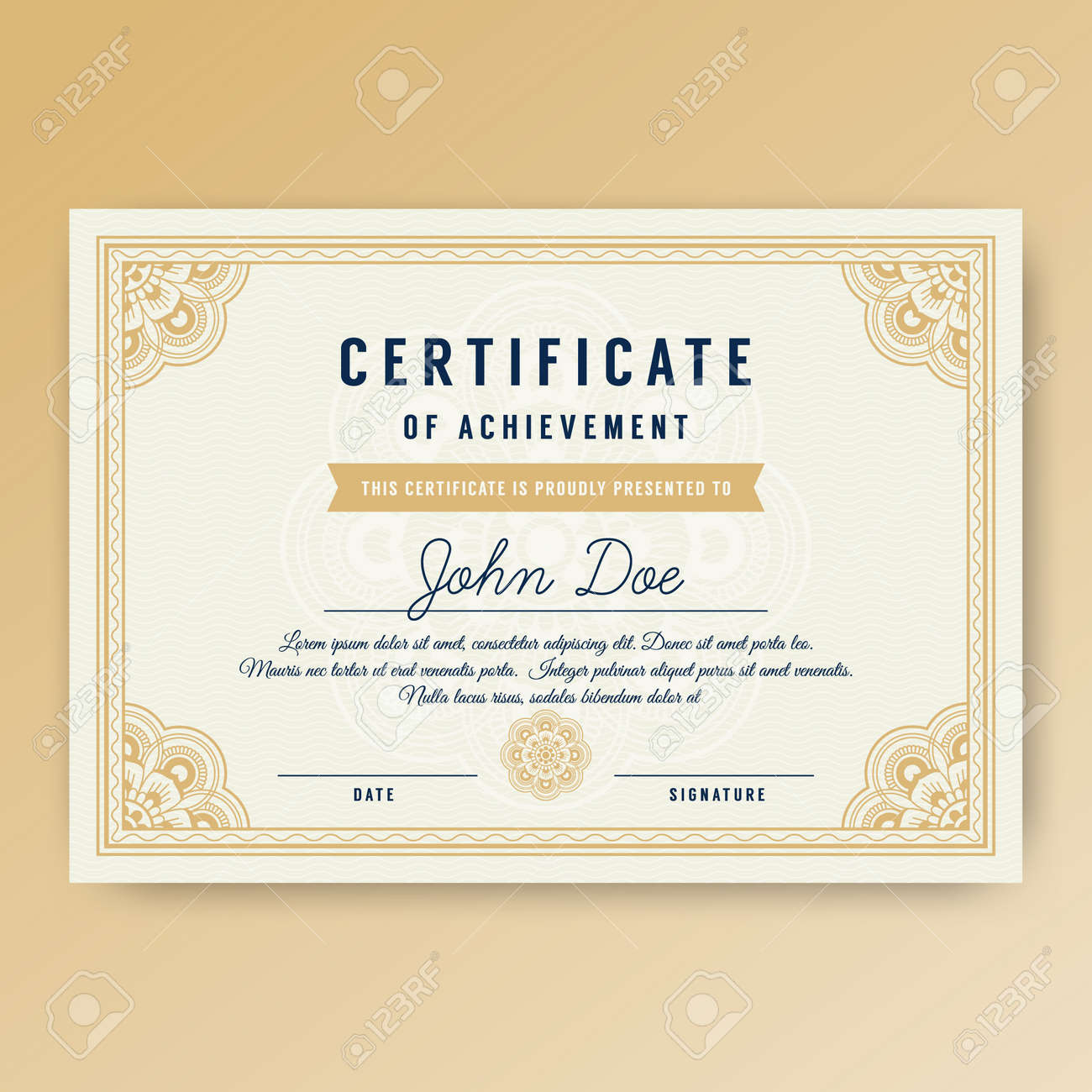 elegant certificate of achievement with ornaments a4 size with