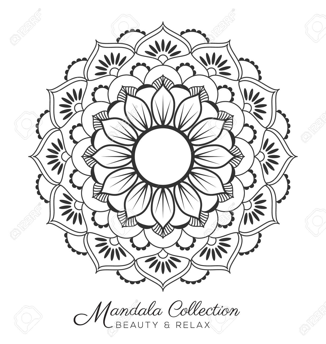 mandala decorative ornament design for coloring page greeting