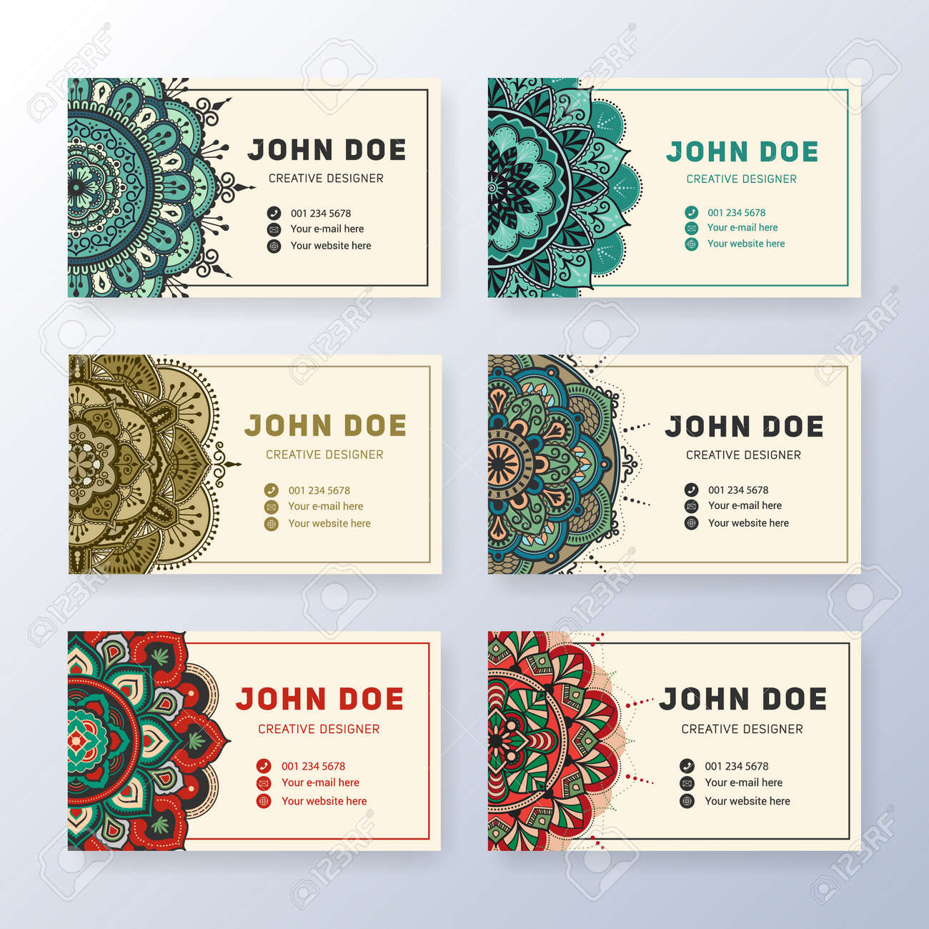 Creative useful business card design vintage colored mandala creative useful business card design vintage colored mandala tag round ornament vector illustration colourmoves