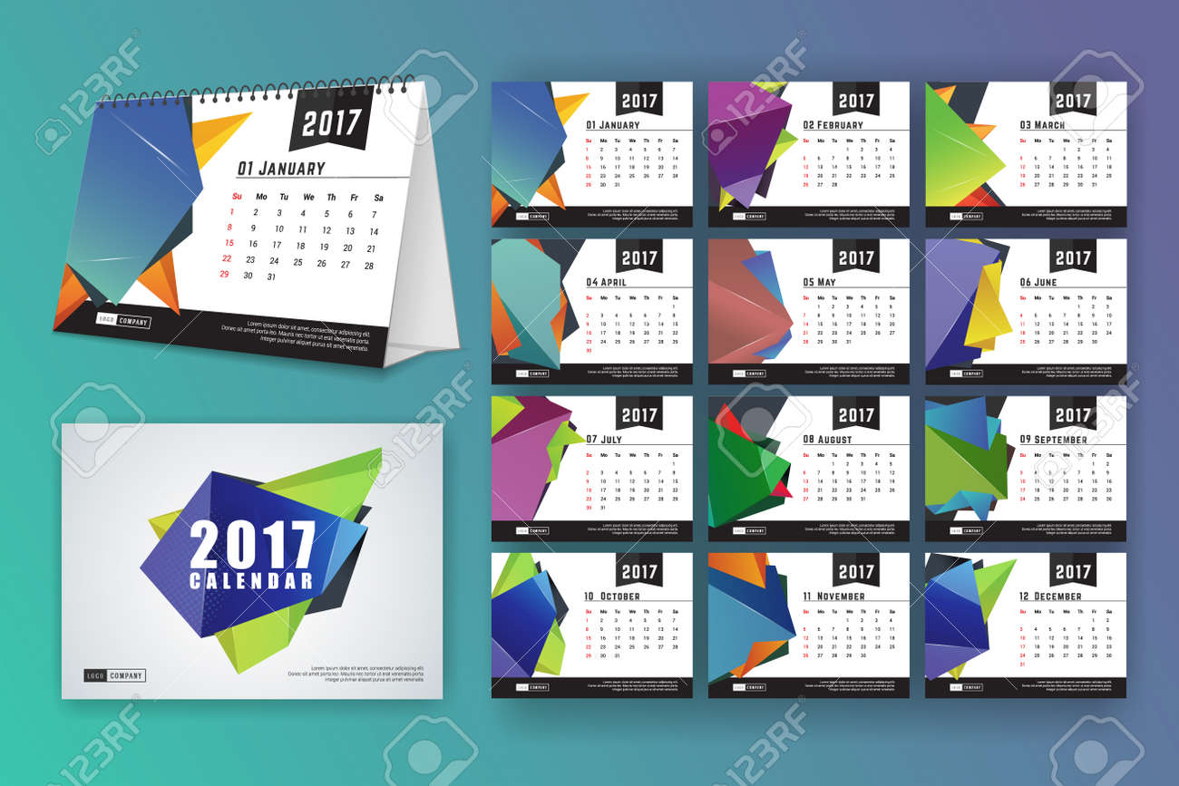 12 month desk calendar template for print design with abstract
