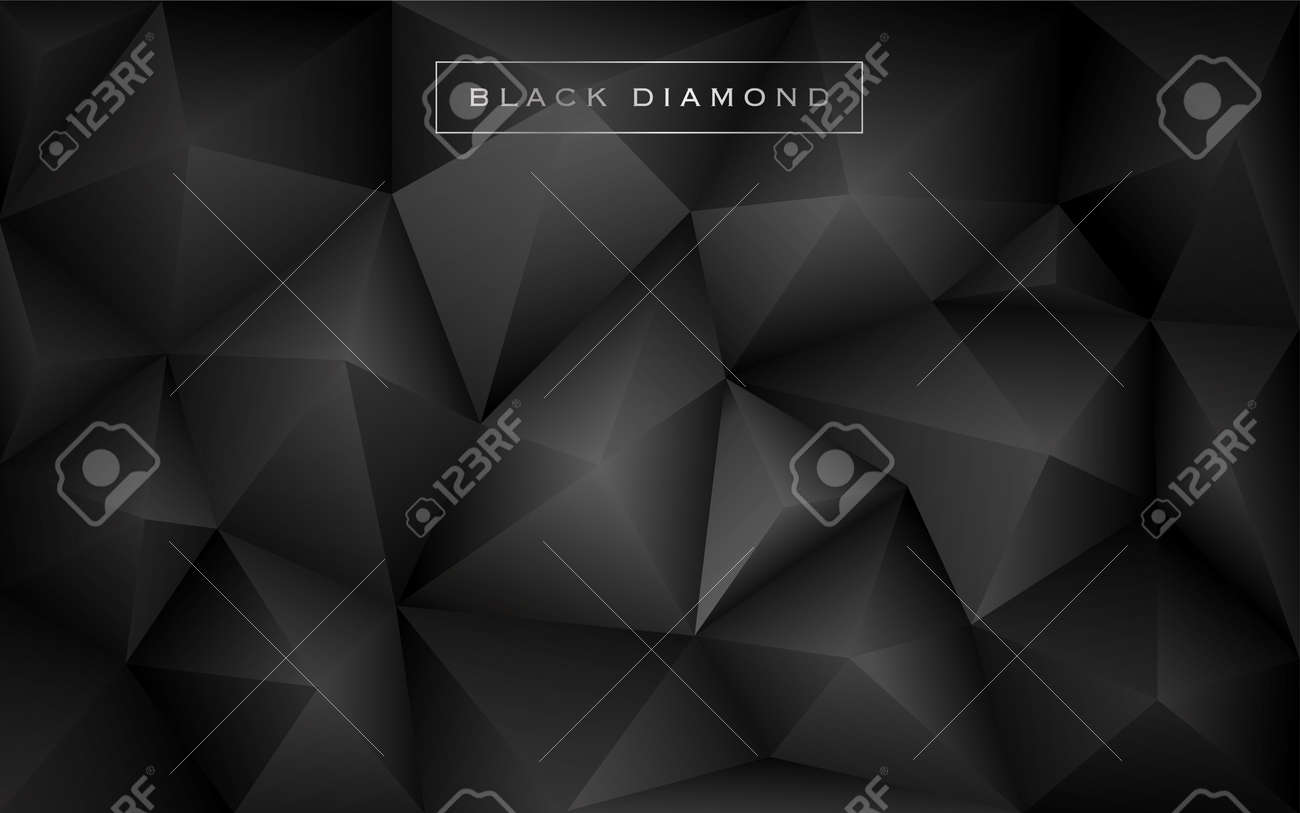 Abstract Black Diamond Polygon Background Luxury Low Poly Wallpaper Design Vector Illustration Stock