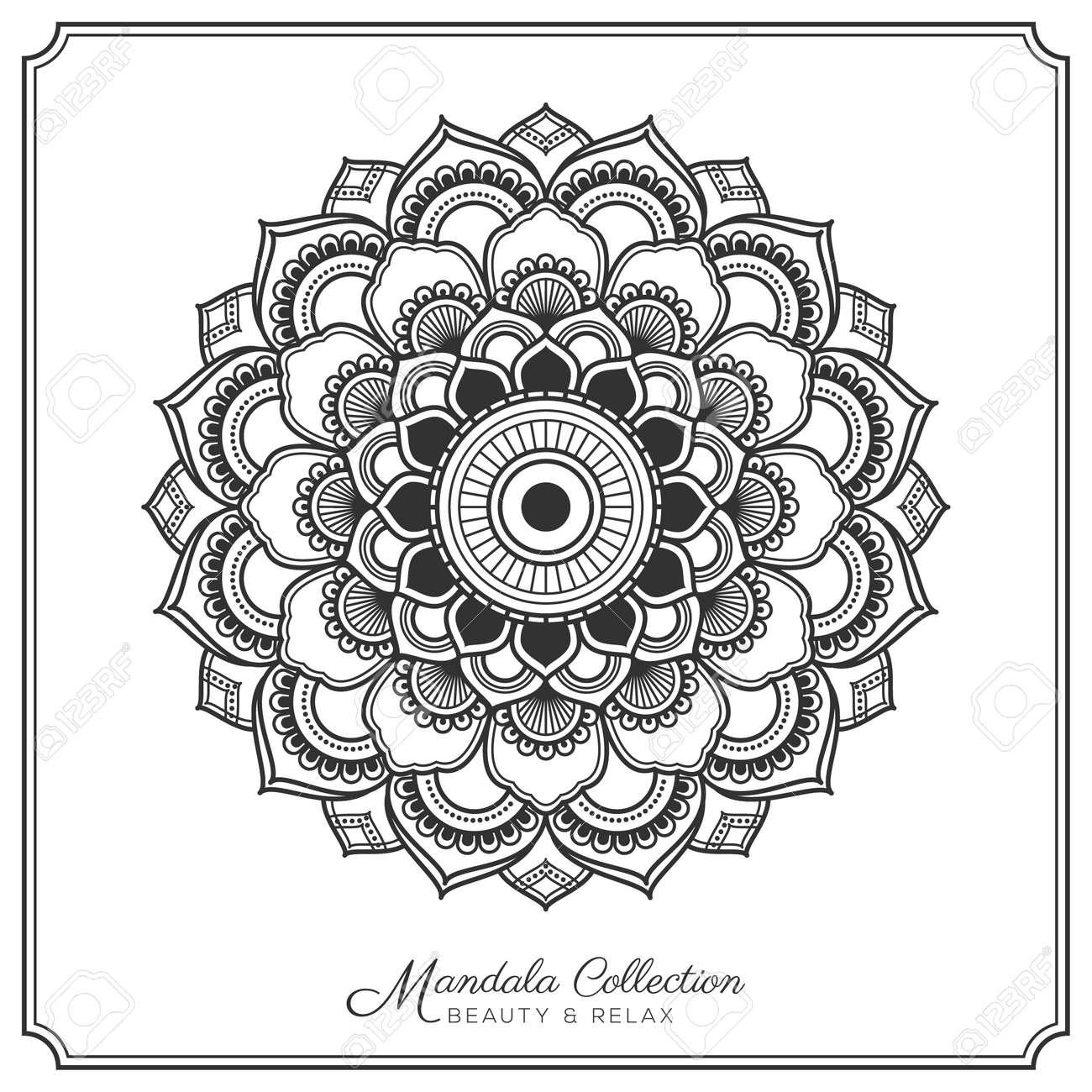Mandala Decorative Ornament Design For Coloring Page Greeting