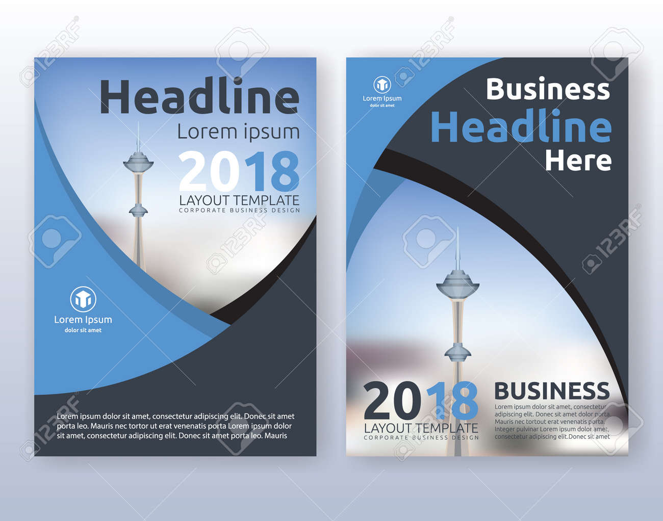 Multipurpose corporate business flyer layout design. Suitable for flyer, brochure, book cover and annual report. blue and black color scheme in A4 size layout template background with bleeds. - 67811514