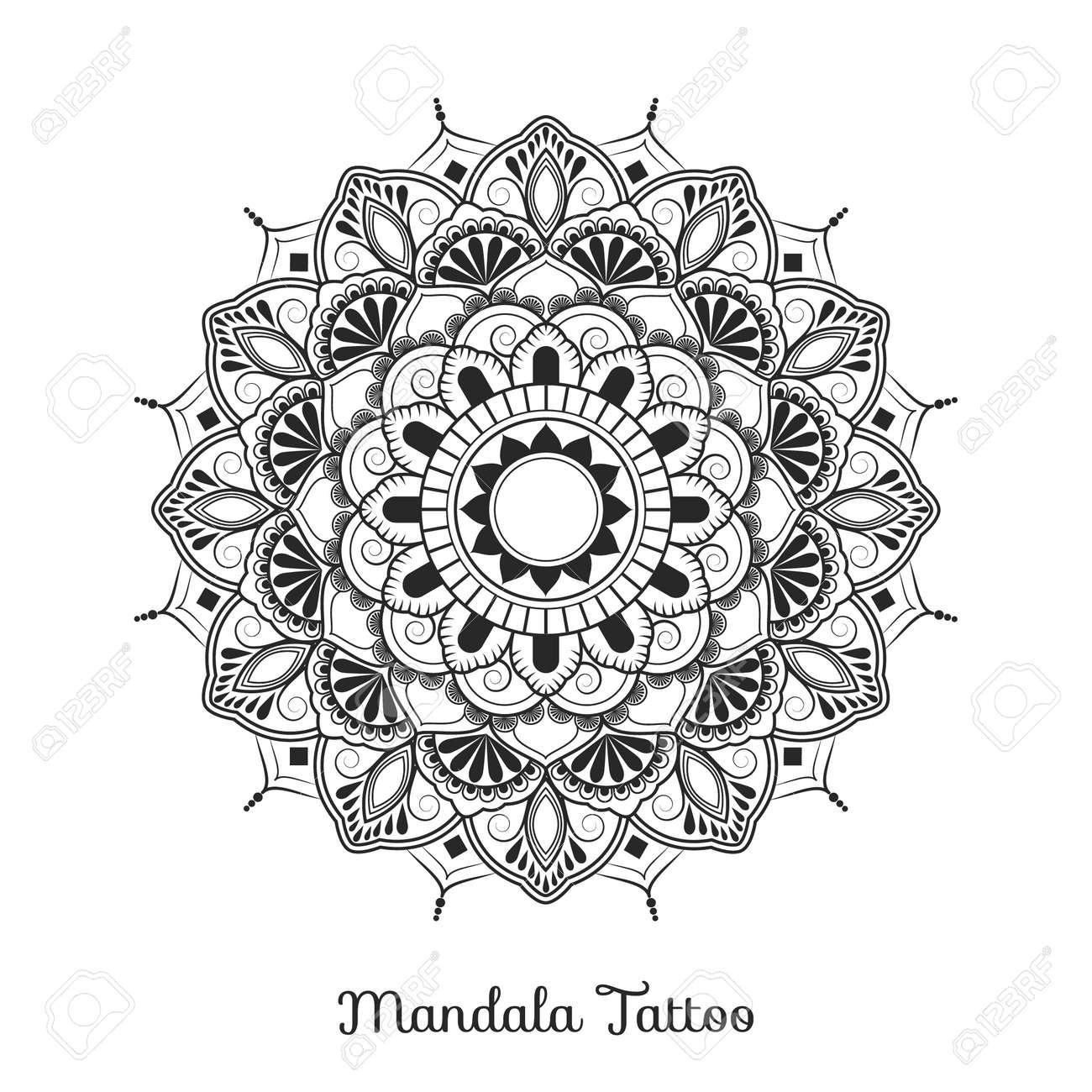 Mandala Diseño Del Ornamento Decorativo Para Colorear Tarjetas De